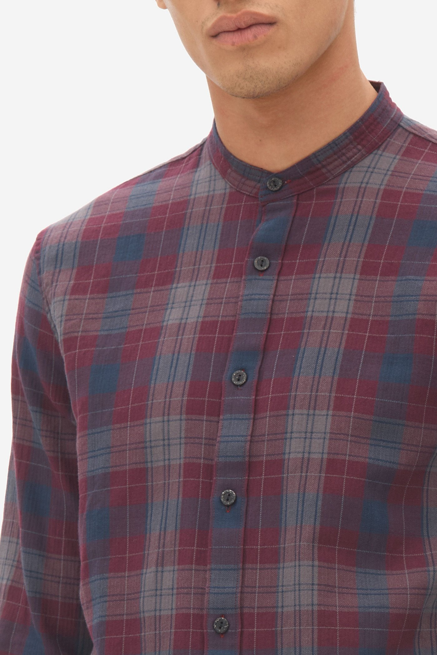 Nowadays herringbone check grandad shirt dark bordeaux