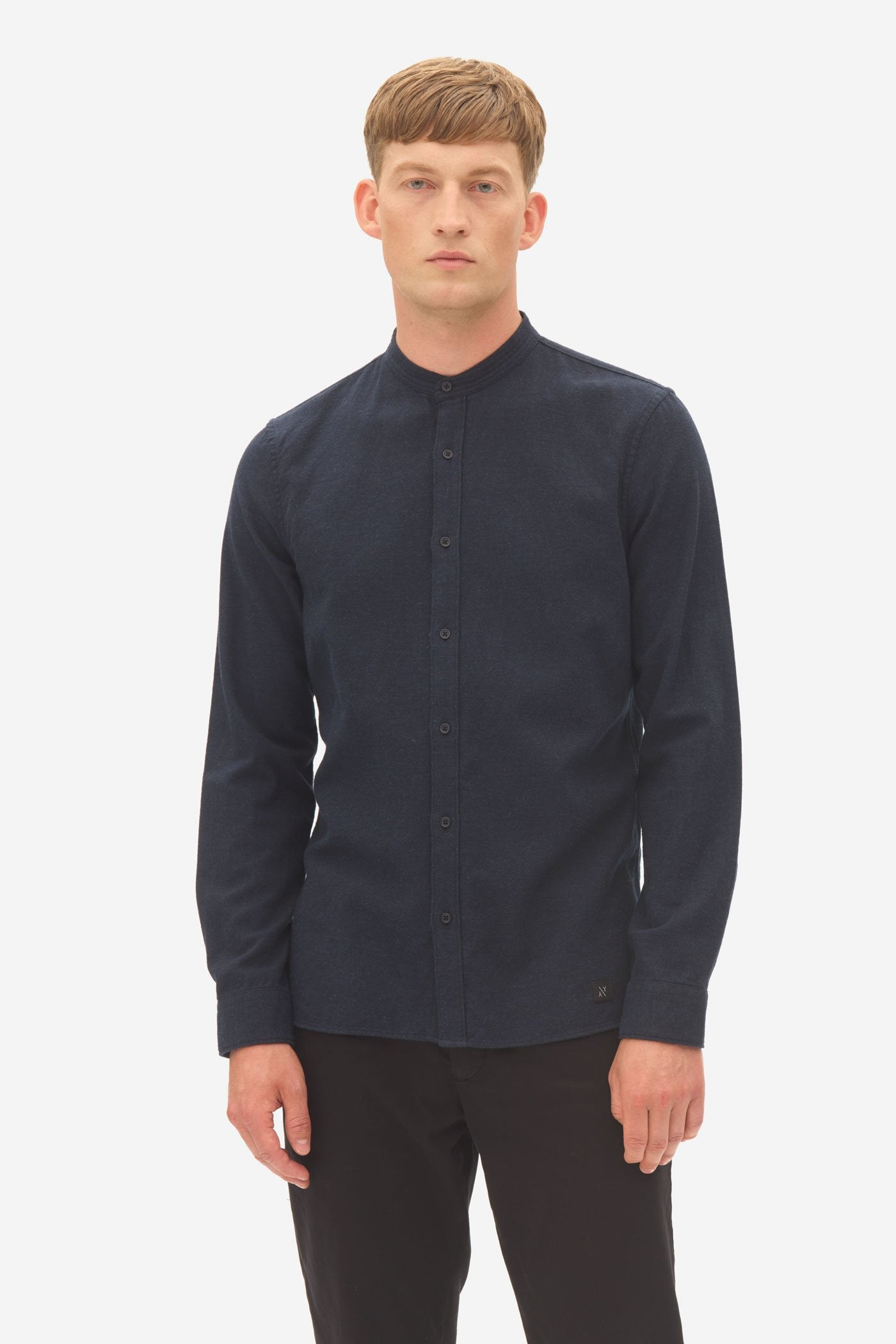 Nowadays brushed twill grandad shirt sky captain