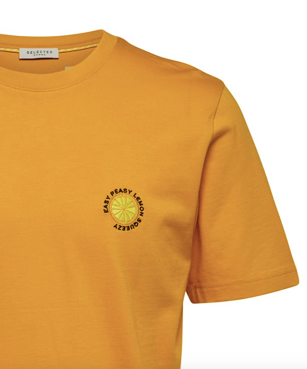 Selectedhomme gilroy emb tee old gold lemon