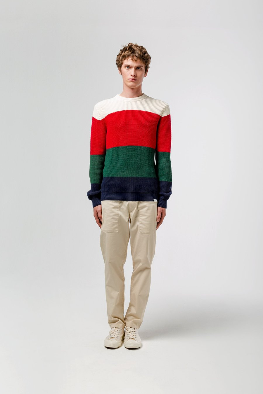 Edmmond four stripes sweater colour block red