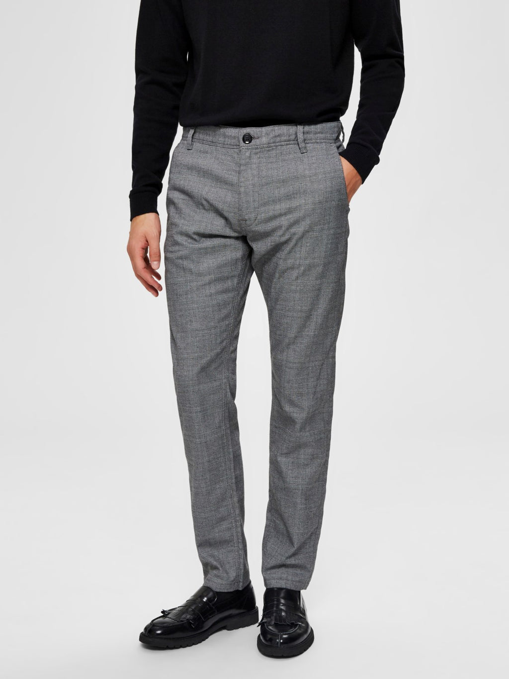 Selectedhomme slim-storm flex smart pants grey check