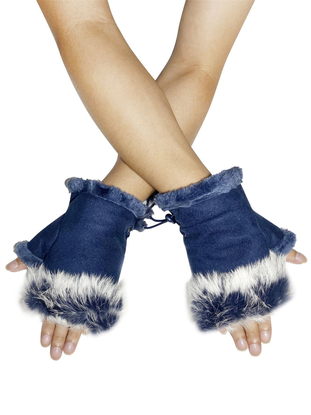 Real Fur Fingerless Mittens - Navy