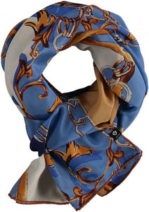Light pattern mix scarf made of pure silk - Blue