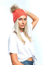 Load image into Gallery viewer, Miss Sparrow Bobble Hat in Coral