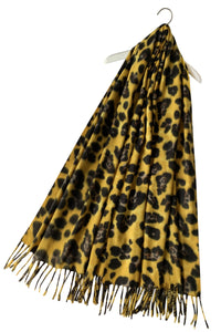 Warm Leopard Wool Scarf with Tassels - Yellow