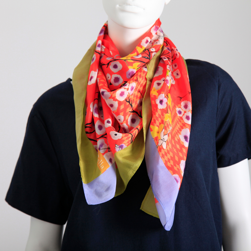 Orange floral silk scarf