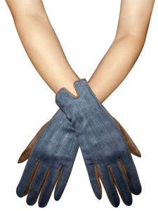 Two Tone Suede Effect Touchscreen Gloves - Denim