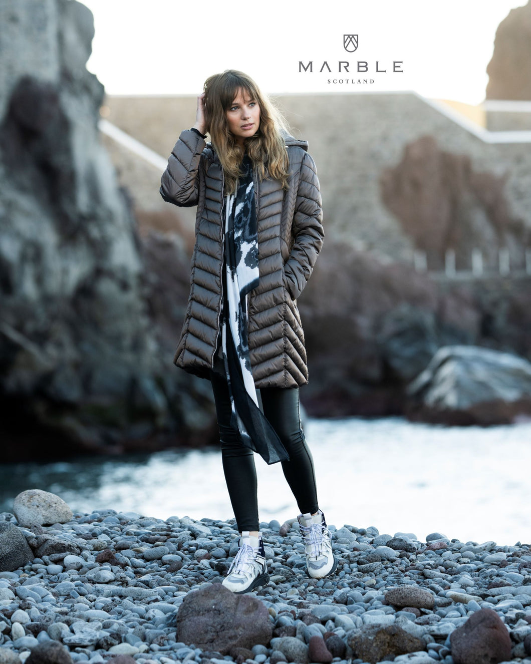 Marble Long Padded Jacket