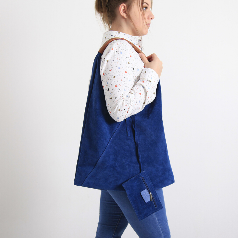 Bagitali Blue Suede Bag