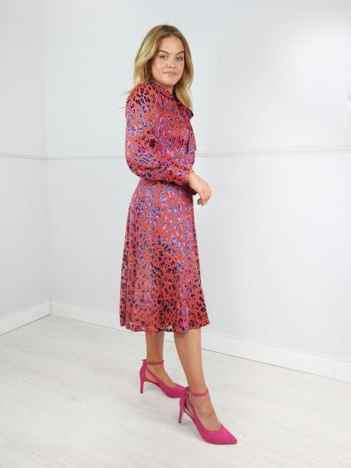 Kate Cooper Red Animal Print Tie Neck Midi Dress