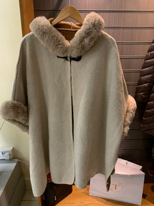 Fur Trim Button Poncho