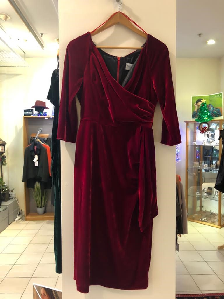 Pretty Dress Company Red Velvet V-Neck Dress