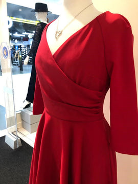 Pretty Dress Company Red Swing V-Neck Dress with Pockets