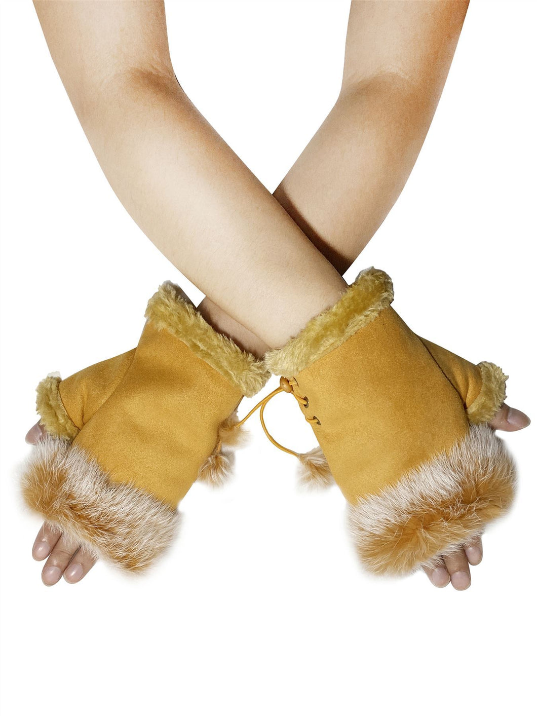 Real Fur Fingerless Mittens - Mustard