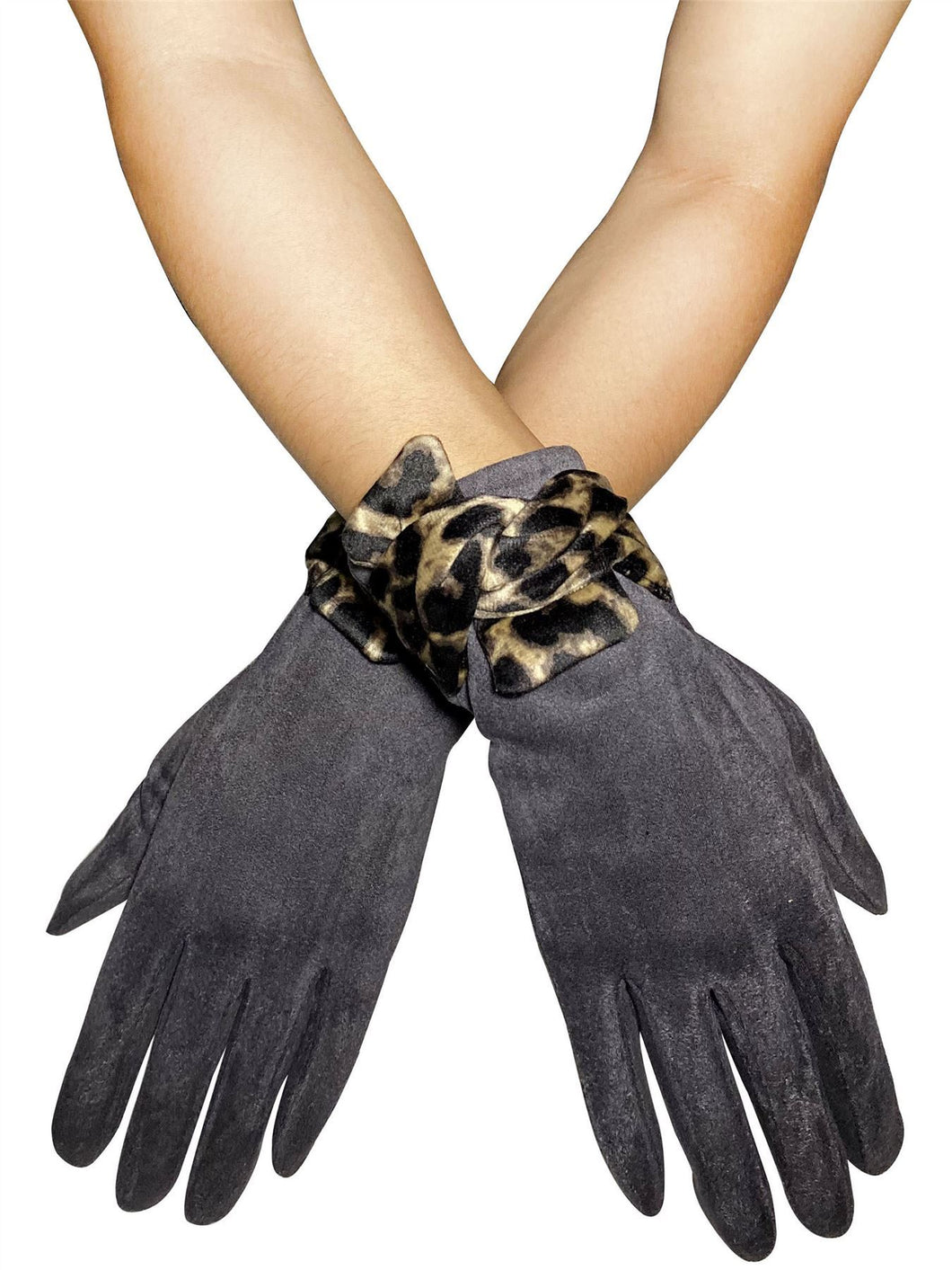 Suede Style Touchscreen Gloves with Leopard Print Bow - Charcoal