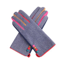 Load image into Gallery viewer, Miss Sparrow Button Detail Gloves in Navy