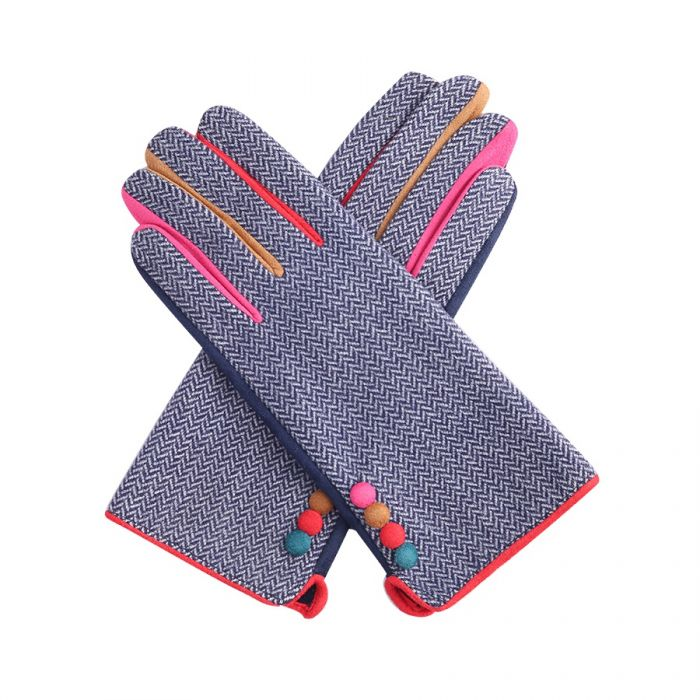 Miss Sparrow Button Detail Gloves in Navy