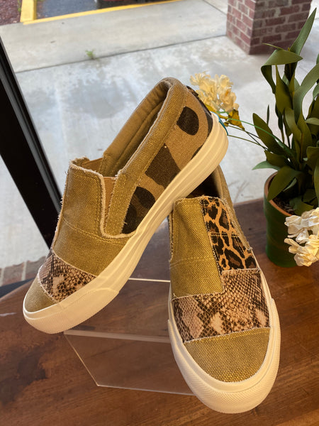 "Blowfish ""Maddox"" Slip On in Gold Brushed Snake Leopard and Camo Canvas"