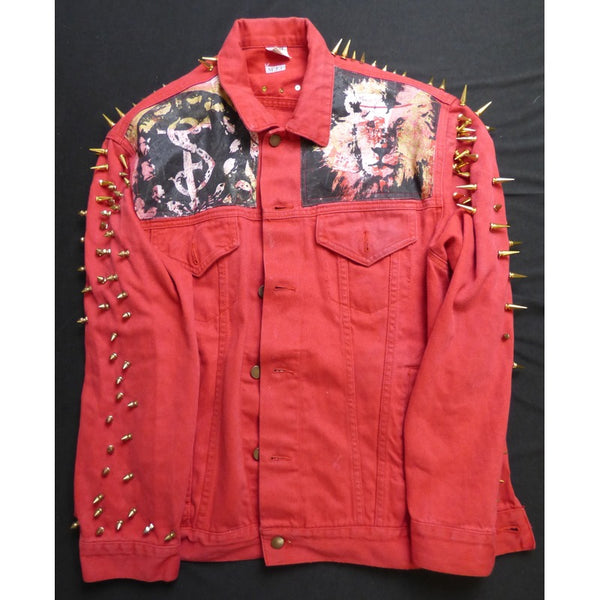 Painted Red Denim Jacket w/ Studs