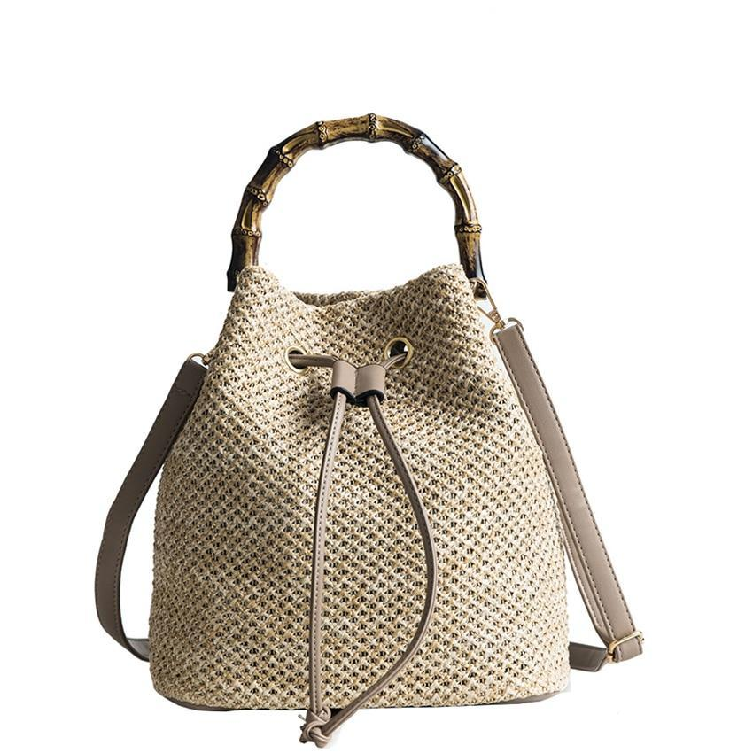 c540483ec5 Bucket Bags Summer Knitting Straw Bags Casual Crossbody Bag Bamboo Handle  Handbags