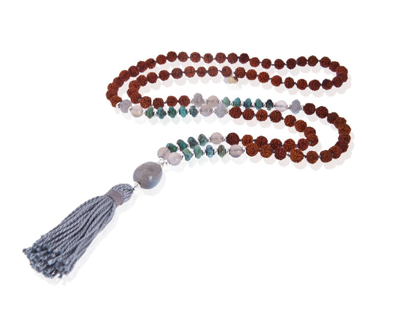 Rudraksha Labradorite Mala Necklace (Transformation )