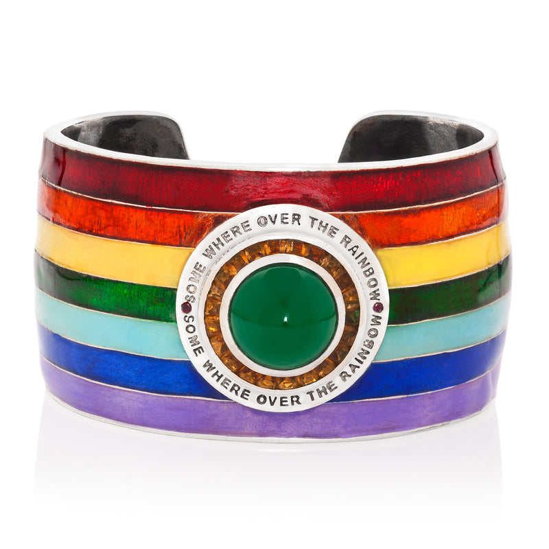 18 KT WHITE GOLD ENAMEL SOMEWHERE OVER THE RAINBOW CUFF