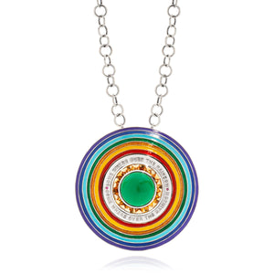 18 KT WHITE GOLD ENAMEL SOMEWHERE OVER THE RAINBOW PENDANT NECKLACE