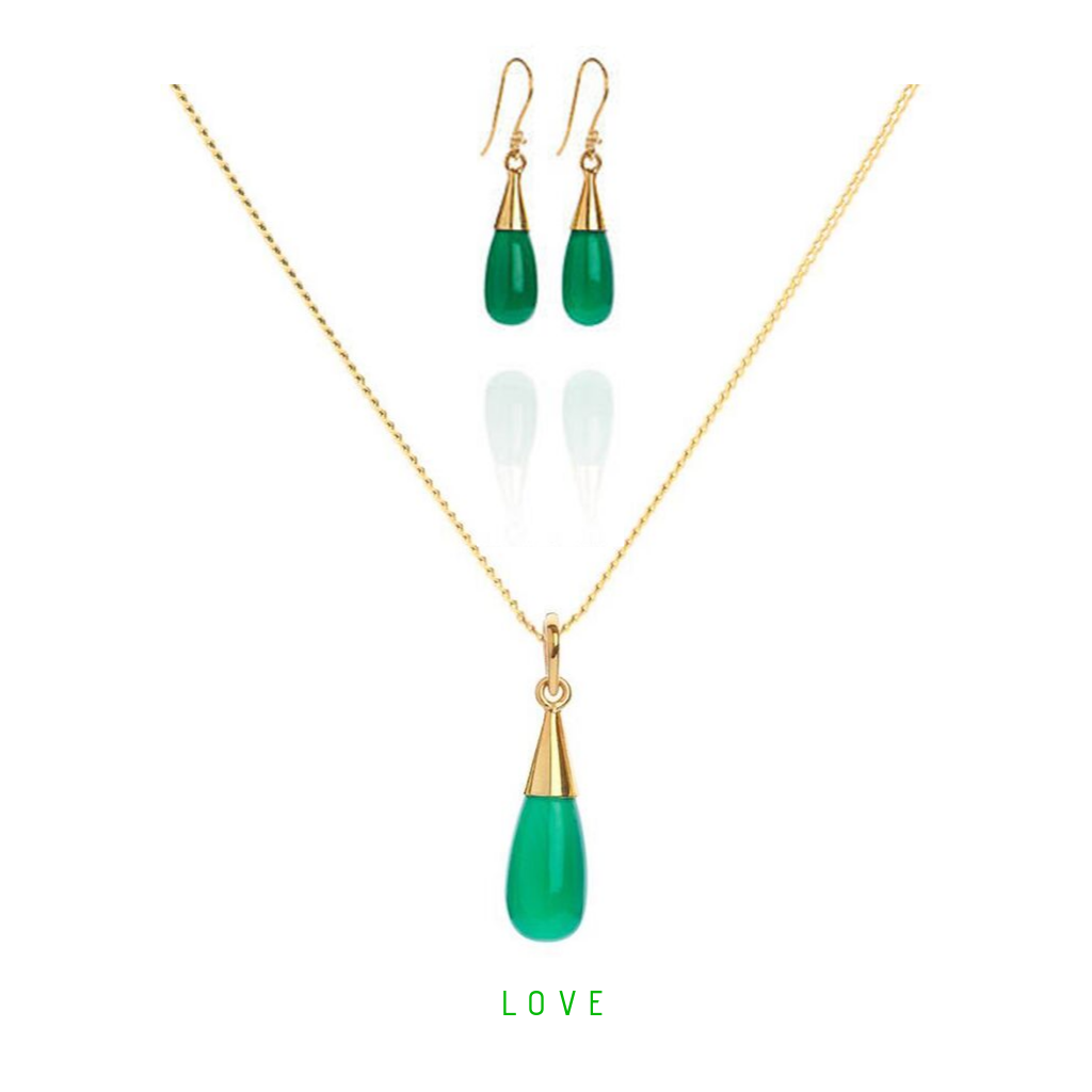 Green Onyx 18 Kt Gold Vermeil Heart Chakra Droplet Necklace & Earrings Gift Set