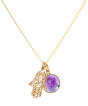 24 KT Gold Vermeil Hamsa Amulet Necklace
