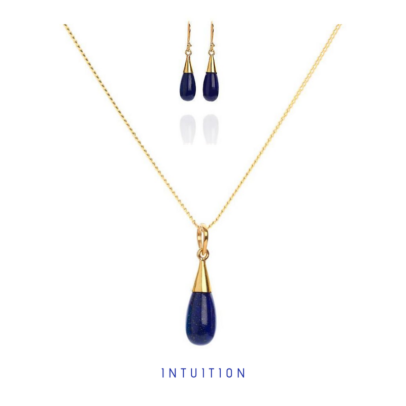 Lapis Lazuli 18 Kt Gold Vermeil Third Eye Chakra Droplet Necklace & Earrings Gift Set