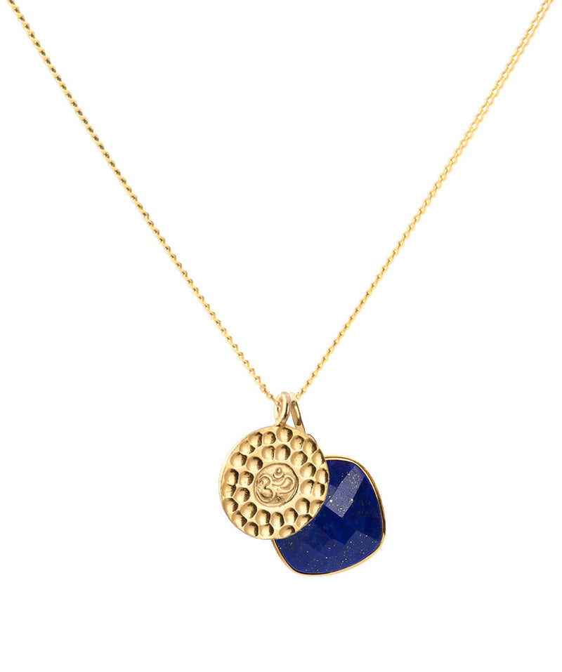 24 KT Gold Vermeil OM Amulet Pendant Necklace