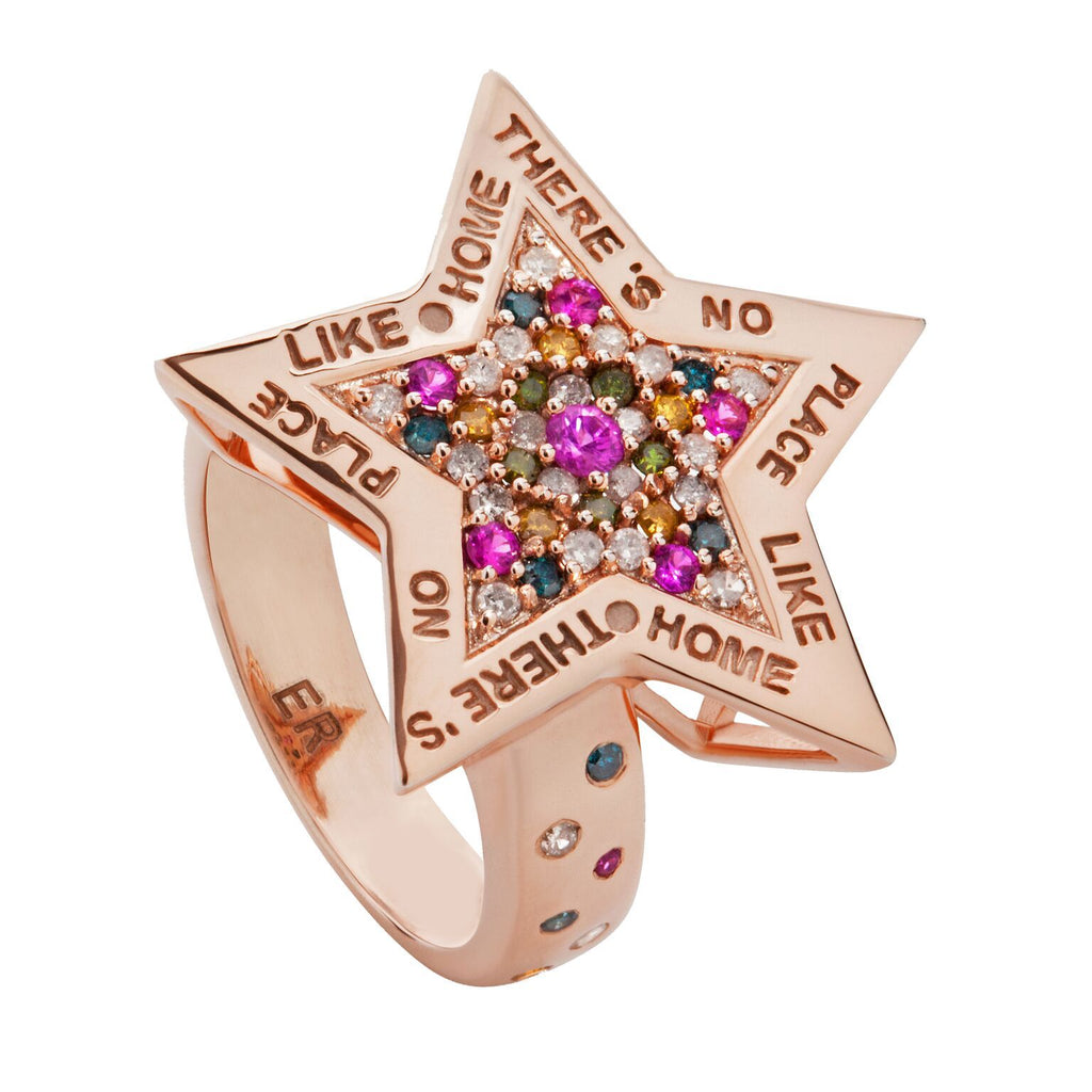 18 KT ROSE GOLD DIAMOND & SAPPHIRE THERE'S NO PLACE LIKE HOME RING