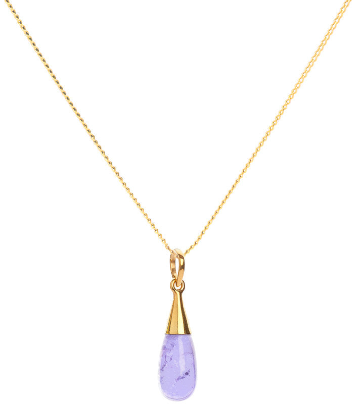 Amethyst 18 Kt Gold Vermeil Crown Chakra Droplet Pendant Necklace & Earrings Gift Set