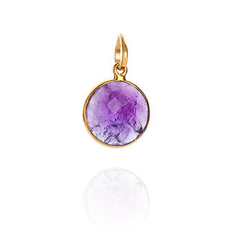 Amethyst 18 Kt Gold Vermeil Crown Chakra Pendant Necklace