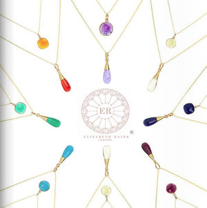 7 Chakra 18 Kt Gold Vermeil Gemstone Droplet Pendant Necklace Gift Set