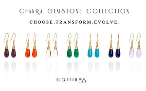 7 Chakra 18 Kt Gold Vermeil Gemstone  Earring Gift Set