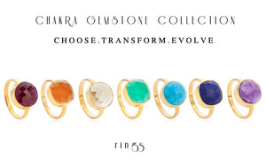 7 Chakra 18 Kt Gold Vermeil Gemstone Ring Gift Set