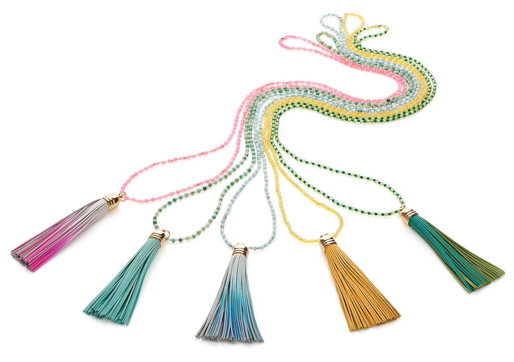 Lime Green Sorbet Two Tone Tassel Necklace