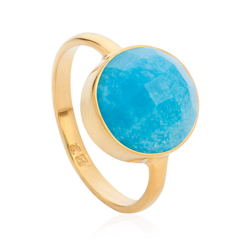 Turquoise 18-karat Gold Vermeil Throat Chakra Ring