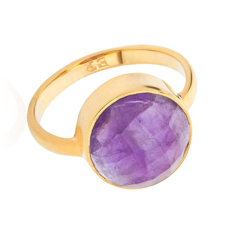 Amethyst 18 Kt Gold Vermeil Crown Chakra Ring