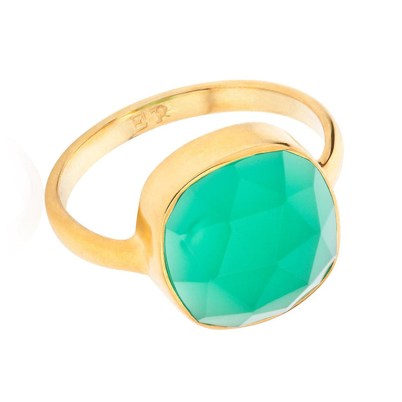Green Onyx 18-karat Gold Vermeil Heart Chakra Ring