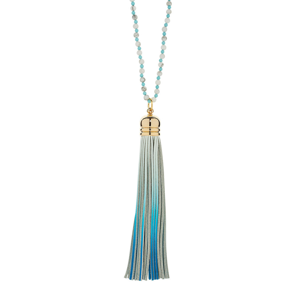 Cool Blue Sorbet Two Tone Tassel Necklace