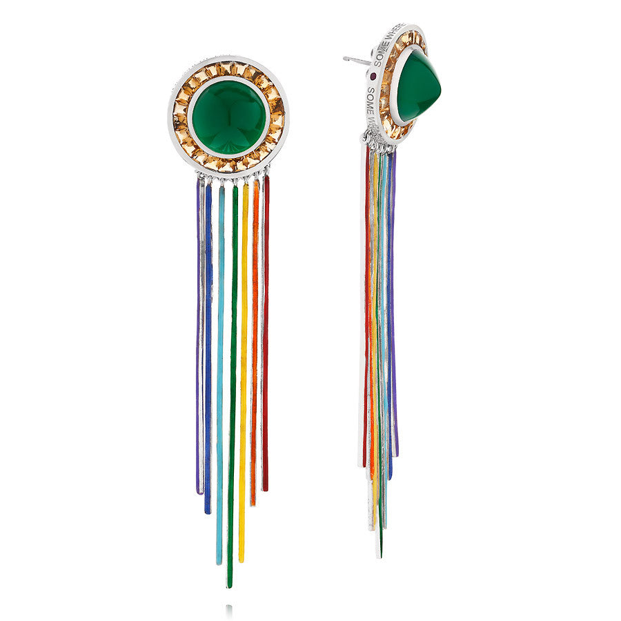 18 KT WHITE GOLD ENAMEL SOMEWHERE OVER THE RAINBOW EARRINGS