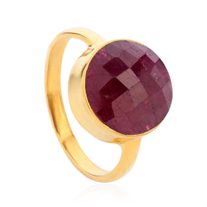 Ruby 18-karat Gold Vermeil Root Chakra Ring