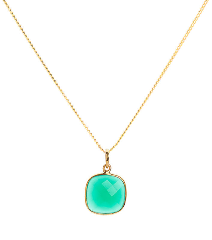 Green Onyx 18 Kt Gold Vermeil Heart Chakra Pendant Necklace