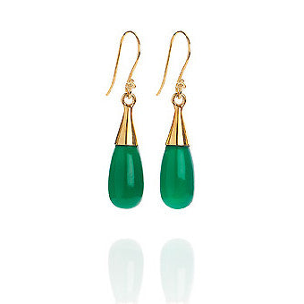 Green Onyx 18 Kt Gold Vermeil Heart Chakra Earrings