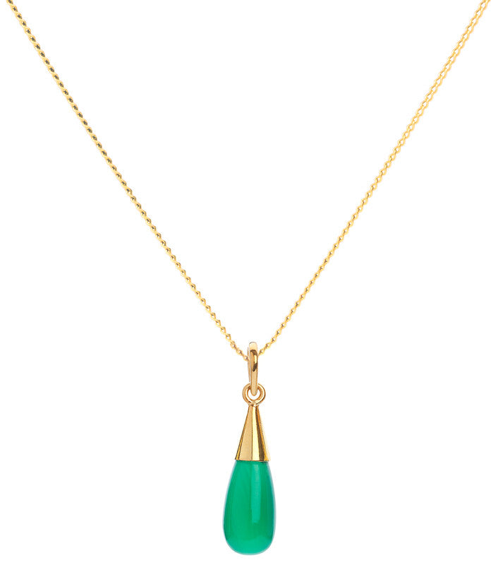Green Onyx 18 Kt Gold Vermeil Heart Chakra Droplet Pendant Necklace
