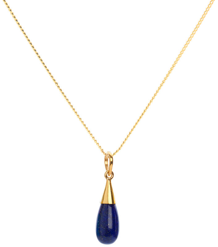 Lapis Lazuli 18-karat Gold Vermeil Third Eye Chakra Droplet Pendant Necklace
