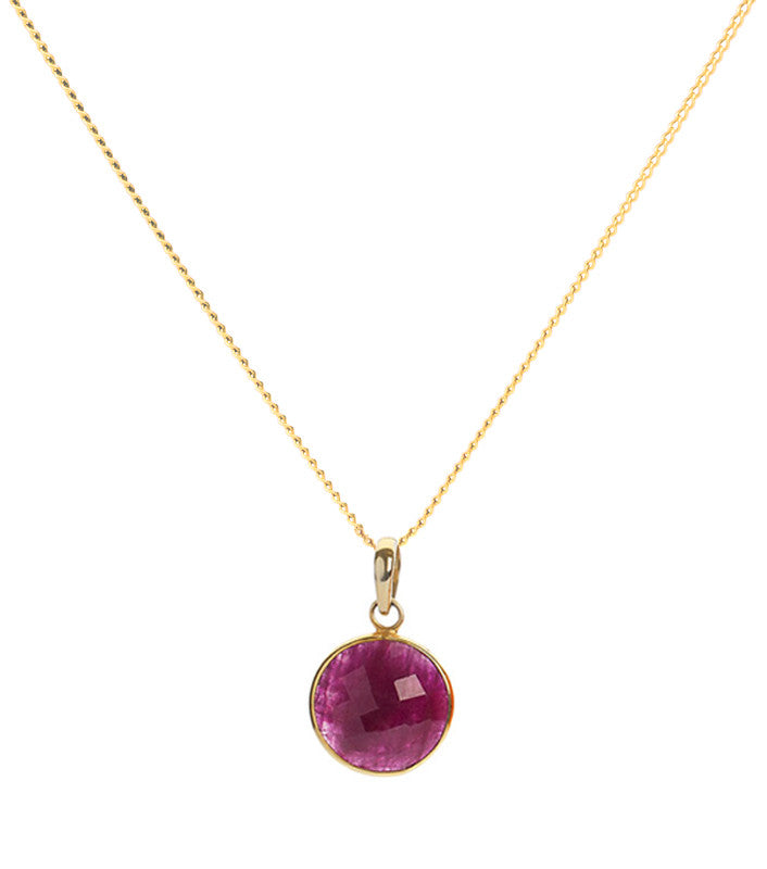 Ruby 18 Kt Gold Vermeil Root Chakra Pendant Necklace