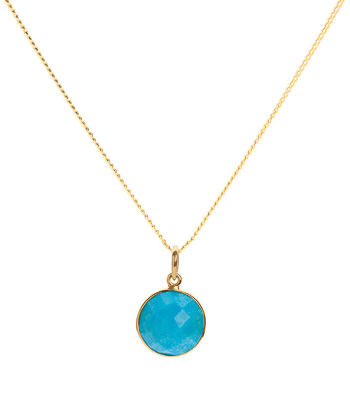 Turquoise 18 Kt Gold Vermeil Throat Chakra Pendant Necklace